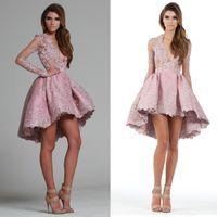 art shirt - Hi Lo Prom Dresses Pink Evening Dress Long Sleeves Hollow Deep V Neck Applique A Line Cocktail Dresses