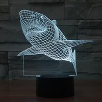 achat en gros de lumière de nuit gradient-Colorful shark Vision lampe stéréo LED gradient 3D lampe acrylique optiques lumières lampe de nuit de lumière colorée