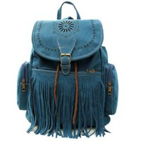 Wholesale Tassel Bag Women Backpack Bag Bolsa Feminina Retro Engraving and Fringe Design Women s Vintage Satchel Mochila Feminina b