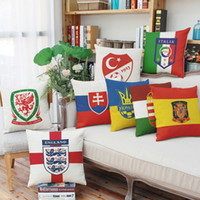 Wholesale Euro Cup Pillow Case House Living room Bedroom Sets England Italy Spain Turkey team logo Cover Linen Cotton couch Backrest Pillowcase A9056