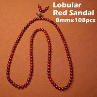 Asian & East Indian beaded jewelry india - 8mmx108pcs beads bracelets Authentic Natural Lobular Red Sandalwood of India Popular Women s Jewelry bangle fashion decoration ornament