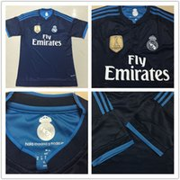 Wholesale 2015 season thailand Real Madrid away rd blue Soccer jersey RONALDO JAMES BALE soccer jersey customize any name white champion patches