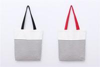 Wholesale Promotion fashion With Stripe Shopping Tote Cotton Canvas Bag Stripe canvas beach bag tote bag