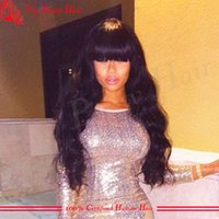 afro hair supplies - Cheap Wig Supplies Long Human Hair Wigs With Bangs Virgin Glueless Body Wave Density Full Lace Wig With Bangs For Women Bleached Knots