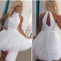 beaded water - Hot Summer Little White Homecoming Dresses Halter Neck Sequined Tulle Beach Party Dresses Backless Cocktail Prom Dresses BA2814