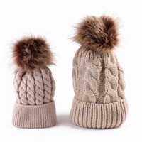 Wholesale Winter Warm Mom Newborn Baby Kids Hats Crochet Knit Hairball Beanie Cup Mommy and me Knitting Balls Warm Winter Knitted Cap