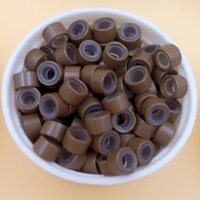Wholesale silicone lined Micro rings beads links microringe For Feather loop Human Hair Extension tool plier light brown