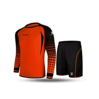 Wholesale Kelme K15Z209 Men Long Sleeve Tight Printing Wicking Super Stretch Competition Training Soccer Goalkeeper Suit Orange Black