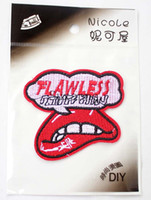 application fabric - Embroidered Iron On Patches Applique Application Rolling Stone Tongue Lips High Quality Fabric Sticker Jacket patches