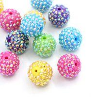 acrylic plastic balls - Mix Colors Chunky Bubblegum Beads Pave Rhinestone Ball Beads mm For Jewelry Makings Necklace Bracelet K736