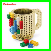 Wholesale Golden Silver Creative Build On Brick Mugs Drinkware Mugs Lego Type Building Blocks Coffee Cup DIY Block Puzzle Cups Le go Type Coffee Cups