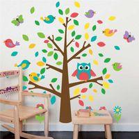 baby playroom - 100pcs ZY1018 cute owls birds tree wall stickers kids playroom decoration nursery cartoon children baby home decals animal mural art