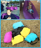 Wholesale Fast Inflatable Camping Sofa Banana Sleeping Lazy Chair Bag Nylon Hangout Air Beach Bed Couch Lay Outdoor Sleep Fast Filling Colors DHL