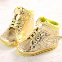 venda por atacado booties crochet do bebê-2016 criança sapatos de couro PU Prewalkers asas linda recém-nascido Kids First Walker sapatas de lona macia Sole inferior Crochet Sapatinho Babies