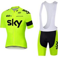 Wholesale 2016 fluor yellow Sky Cycling Jerseys Quick Dry Bike Wear polyester team sky jersey Short sleeve cycling shirts bicycle shorts set