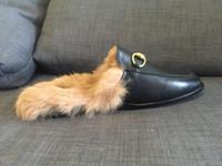 Wholesale actual shoe unisex genuine leather rabbit hair slide shoes black luxury slippers mules men ladies