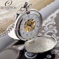 al por mayor de bolsillo antiguo reloj de plata-Reloj de bolsillo mecánico grabado moderno Reloj de marca de lujo de plata Reloj redondo del collar de la vendimia Venta caliente Acero inoxidable antiguo