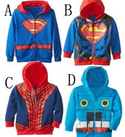 Wholesale 1 T Baby Boys Spiderman Hoodies Sweatshirts Kid Cartoon Thomas Train Jacket Children Superman Outerwear Superhero Clothing