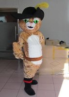Cheap NO.1 MASCOT lovely puss in boots mascot costume Advertising Booted Cat cartoon & moive character Mascotte Suit Carnival Outfit