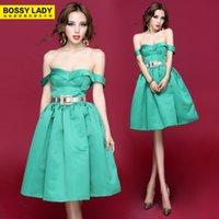 Wholesale Ball gown Pleated tube Dress women summer fashion slit neckline vintage clothing fluffy green Knee length dress vestido de festa