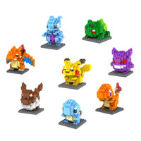 Wholesale Poke Figures Model Toys Souptoys Diamond block Pikachu Charmander Bulbasaur Squirtle Mewtwochild Eevee Child gift