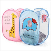 animal laundry hamper - Cute cartoon animals foldable Laundry Color Network Storage Basket Hamper Basket For Toys Clothes Portable Clothing F27