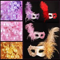 beautiful mardi gras masks - Luxury Feather Masquerade Princess Queen Mask for Women Feather Flowers Pearl Venetian Lace Mardi Gras Masks Painted Beautiful yp