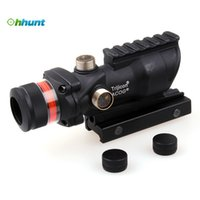 Cheap Trijicon ACOG Style 4X32 Hunting Real Fiber Optic Red Illuminated w Weaver Rail Tactical Scope For Air Gun Airsoft