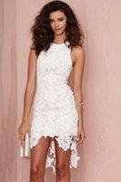 sexy mini wedding dress - Elegant Scoop Neckline Short Front Long back Lace Mini Wedding Dress Hi Lo Summer Beach High Quality Simple Bridal Gown Formal Dresses
