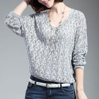 Wholesale New Hot Selling Women Casual V neck Hollow Bat Sleeve Loose Knit Pullover Tops One Size