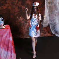 Nurse Costume Men White online - Woman's White Bloody Scary Nurse Costume For Halloween Party Cosplay Size M