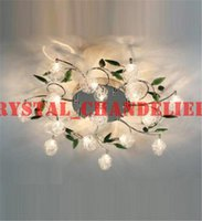 Wholesale LED Ceiling Light Modern Green Leaves Light Crystal Ball Ceiling Light Aluminium Wire Ceiling Lamp Living Room Chandelier lights