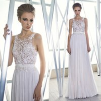 A-Line beach imports - 2016 Cheap Lace Embroidery Chiffon Beach Sheer Summer Bridal Wedding Dresses Gowns Boho Plus Size Imported China W2560