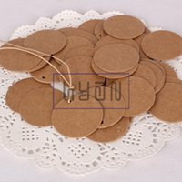 Wholesale Blank Round Kraft Cloth Hangtags with Paper Rope DIY Cardboard Gift Hang Tags Price Labels colors can be mixed