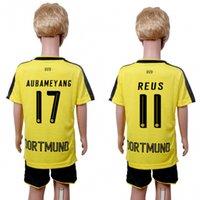 Wholesale 2017 Kids Dortmund Football Jersey Home Yellow Dortmund Boy Soccer Jerseys With Shorts REUS RAMOS AUBAMEYANG Child Soccer Shirts