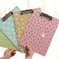 Wholesale 2pcs Korea Style Animal Printed A4 Paper Clipboards with Colors Students Office Stationery Writing Drawing Tablet