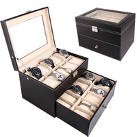 Wholesale 20 Slot Watch BoxTop Glass Jewelry Storage Black Leather Display Case Organizer