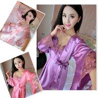 Wholesale Silk Pijama Sets Nightskirt Embroidered Emulation Silk Nightdress Two Piece Sexy Nighties Silk Robe Soft Silk Pajamas Homewear K125L