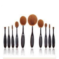 Wholesale 10Pcs black oval brush set toothbrush shape Oval Make Up Brushes Set professional make up tools for beauty and urban makeup