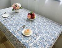 Wholesale 2016 Christmas Decor Chinese Style Table Cloth Simplicity Patterns Cotton Linen Textiles Retro Blue and White Porcelain XMAS Table Cloth
