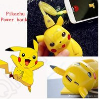 Wholesale Pikachu Power Bank mAh Portable Charger Poke Cartoon Cute LED USB Phone Battery Mobile Chargers OOA439