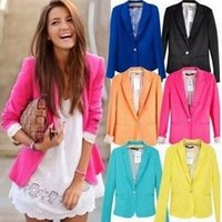 Wholesale 2016 New Fashion Women Blazer Slim Long Sleeve Candy Color Single Button Blazers Vogue refresh Casual Outerwear jacket Coats