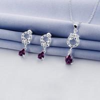 Joyería al por mayor del pendiente del collar del diseño 925 del hueco de la manera fija; Descuento de plata esterlina de plata azul conjunto de piedras preciosas GTFS094A