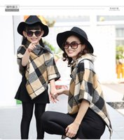 Wholesale Girls Autumn and Winter Family Fitted Mother and Daughter Woolen Cape Coat Cloak Wool Jacket Beautiful Plaid Shirt QZZ060