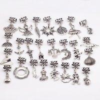 Wholesale 25Pcs Mixed Beads For Pandora Charm Bracelet Vintage Silver Metal Zinc Alloy Diy Big Hole Beads For Pandora Charms B8514
