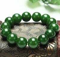 Wholesale NEW mm beautiful Real Green Jade Natural Stone Jade Beads bracelet stretch Elastic Link Bracelet Inch Fashion jewelry