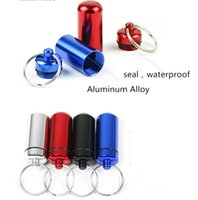 aluminum carrying cases - Waterproof Aluminum Medicine Pill Box Case Bottle Cache Holder Keychain Container Multicolor Easy Carry High Quality