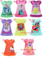 Wholesale Kids girls summer Pajamas Elsa Anna Mermaid Sofia Snow White Minnie my little pony kids pajamas polyester nightgowns sleepwear clothes