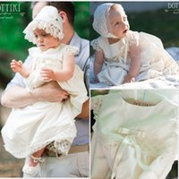 Wholesale Newest Christening Dresses Lace Applique Christening Gowns Jewel Neckline Cap Sleeve Cheap Baptism Dress With Bow