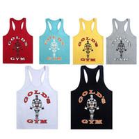 Wholesale Gold s GYM Men Fitness Vest Stringer Cotton Gym Tank Top Singlet Bodybuilding Sport Gym Vest Muscle Singlet GYM09